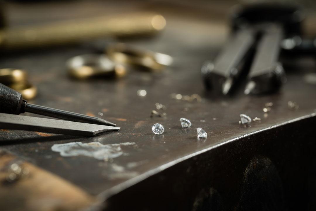 Raw diamonds in the workshop